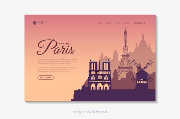 Willkommen in der pariser landingpage-vorlage