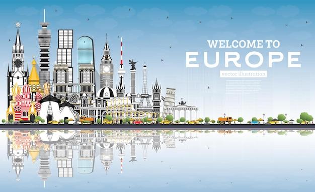 Willkommen in der skyline von europa mit grauen gebäuden und blauem himmel. vektor-illustration. tourismuskonzept mit historischer architektur. europa-stadtbild mit wahrzeichen. london. berlin. moskau. rom. paris.