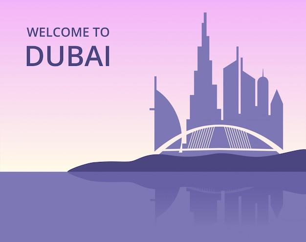 Willkommen in dubai. vector panoramisches stadtbild von dubai mit schattenbild von wolkenkratzergebäuden