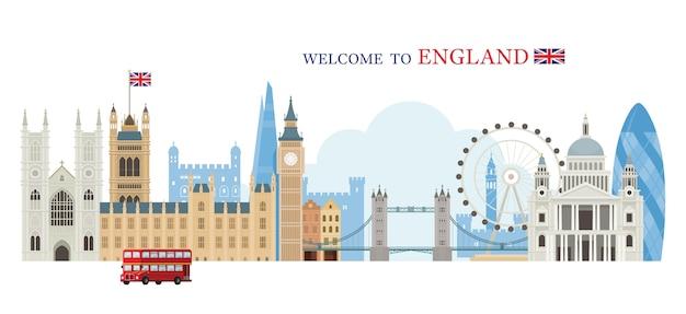Willkommen in england grußkonzept