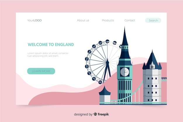 Willkommen in england landing page template