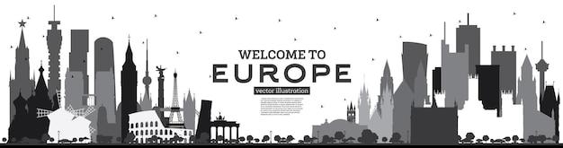 Willkommen in europa skyline silhouette mit schwarzen gebäuden, isoliert auf weiss tourismuskonzept mit historischer architektur europa stadtbild mit wahrzeichen london berlin moskau