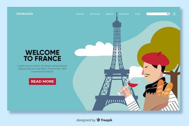 Willkommen in frankreich landing page template