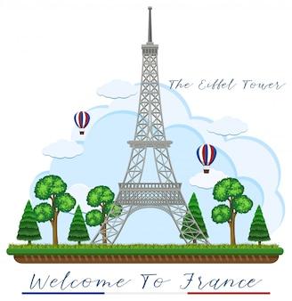 Willkommen in frankreich mit eiffelturm