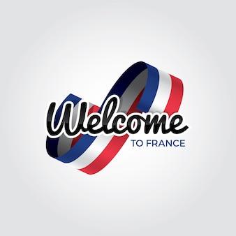 Willkommen in frankreich, vektorillustration auf weißem hintergrund