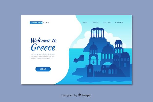 Willkommen in griechenland landing page template