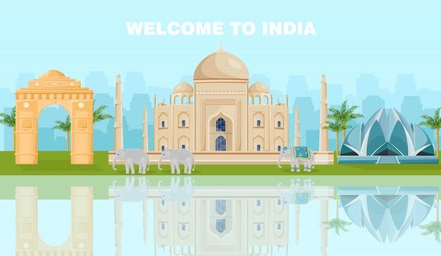 Willkommen in indien karte mit berühmten sehenswürdigkeiten