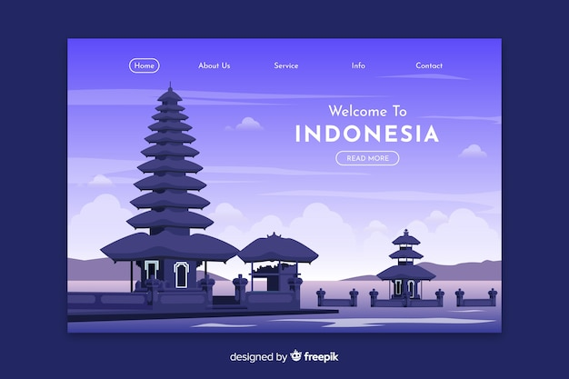 Willkommen in indonesien landing page template