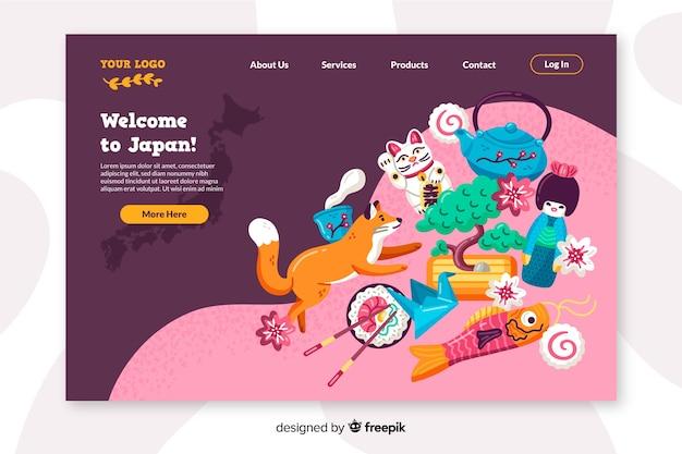 Willkommen in japan landing page flache bauform