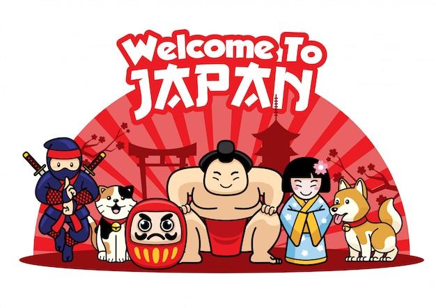 Willkommen in japan mit japanischen süßen charakteren