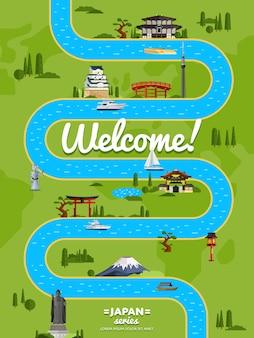 Willkommen in japan poster mit berühmten sehenswürdigkeiten