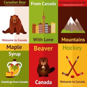 Willkommen in kanada illustrationen festgelegt. aus kanada mit liebe. kanadischer bär, berge, biber, ahornsirup.