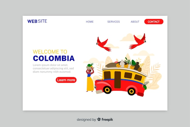 Willkommen in kolumbien landing page template