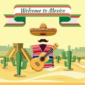 Willkommen in mexiko, traditionellen mexikanischen elementen vor dem hintergrund von kakteen und sand