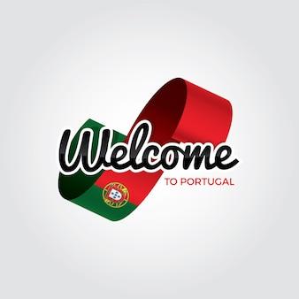 Willkommen in portugal, vektorgrafik auf weißem hintergrund