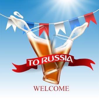 Willkommen in russland, farbe der russischen flagge und bier auf glas spritzen.