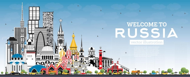 Willkommen in russland skyline mit grauen gebäuden und blauem himmel. vektor-illustration. tourismuskonzept mit historischer architektur. russland-stadtbild mit sehenswürdigkeiten. moskau. sankt petersburg. jekaterinburg.