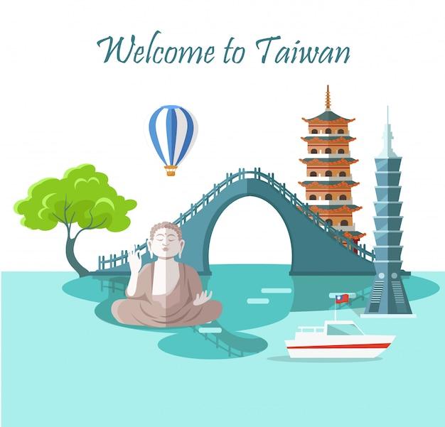 Willkommen in taiwan grußkarte mit sehenswürdigkeiten