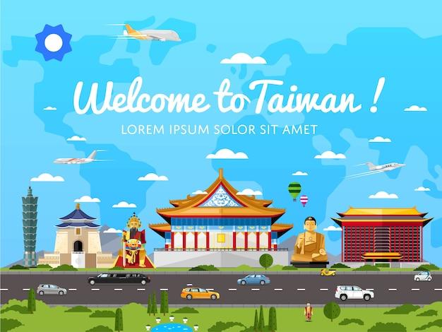 Willkommen in taiwan poster mit berühmten sehenswürdigkeiten