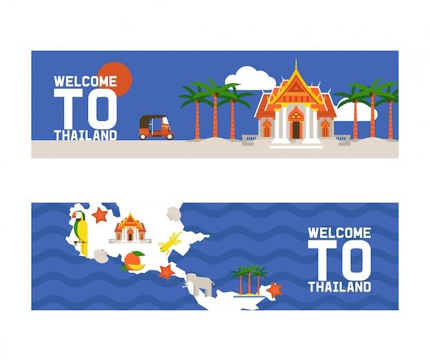 Willkommen in thailand reihe von banner. traditionen, kultur des landes. alte denkmäler, gebäude, natur und tiere wie elefanten. transportfahrzeug tuk tuk