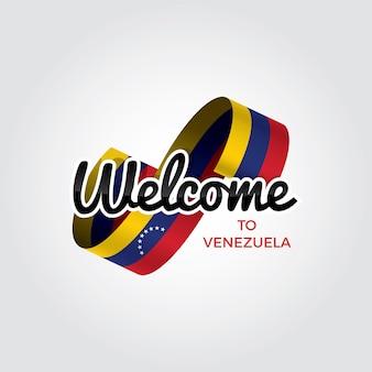 Willkommen in venezuela, vektorgrafik auf weißem hintergrund