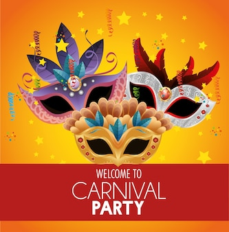 Willkommen karneval party helle masken federn sterne konfetti banner