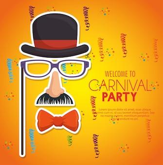 Willkommen karnevalsparty gentleman maske konfetti gelben hintergrund