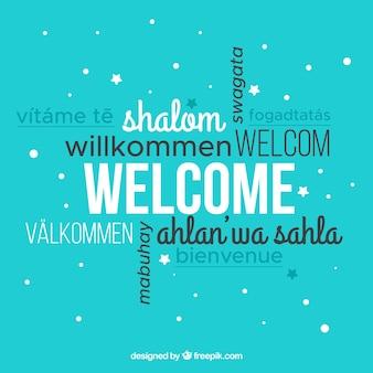 Willkommen komposition in verschiedenen sprachen