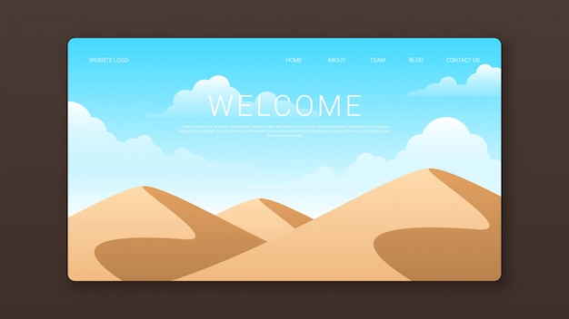 Willkommen landing page template mit wüstenlandschaft
