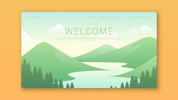 Willkommen landing page template mit wunderschöner landschaft
