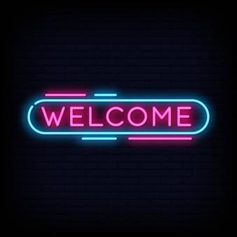 Willkommen neon sign text