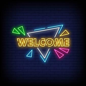 Willkommen neon signs style text