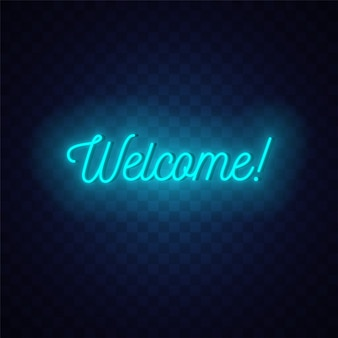Willkommen neonschild. leuchtender text auf dunklem hintergrund.