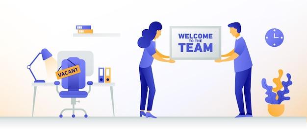 Willkommen neuer mitarbeiter mann und frau stellen neue mitarbeiter ein freier platz in einem büro