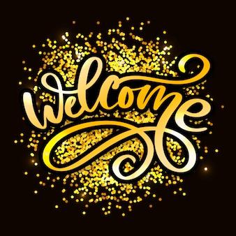 Willkommen pinsel schriftzug. illustration für dekoration oder banner slogan