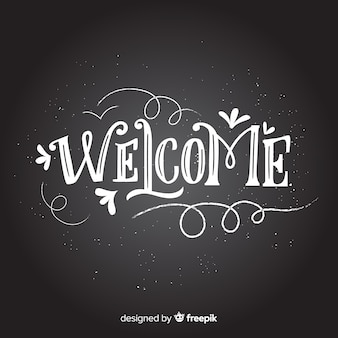 Willkommen schriftzug konzept