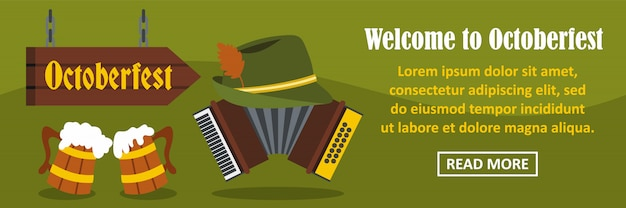 Willkommen sie bei oktoberfest banner horizontale konzept