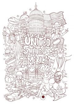 Willkommen sie in den vereinigten staaten von amerika konturillustration