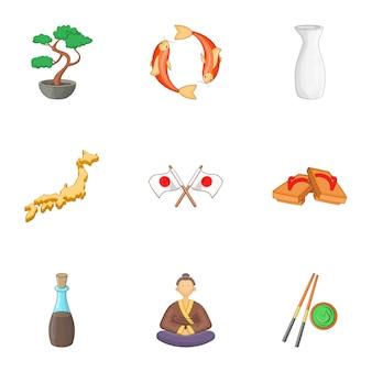 Willkommen sie in japan icons set, cartoon-stil