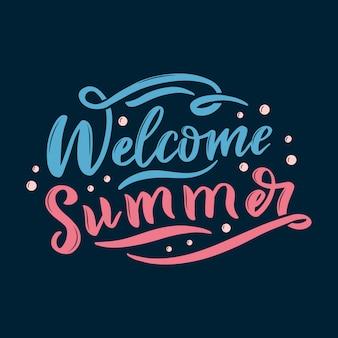 Willkommen sommer schriftzug. kalligraphie-sommerpostkarte oder postergrafikdesign-typografieelement. handgeschriebene sommerpostkarte im kalligraphiestil. hallo sommer auf blauem hintergrund