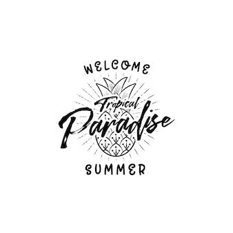 Willkommen sommer tropisches paradies