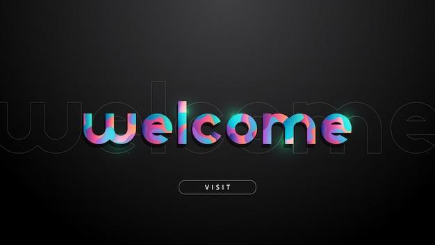 Willkommen typografie mit flüssiger schrift, leuchtend und modern