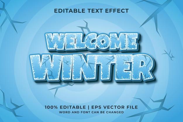 Willkommen winter 3d bearbeitbarer texteffekt premium-vektor