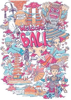 Willkommen zu bali illustration