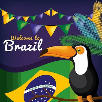 Willkommen zu brasilien, das ikonenvektor-illustrationsdesign darstellt