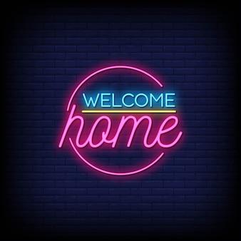 Willkommen zu hause neon signs style text