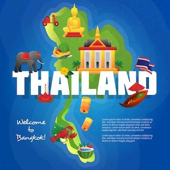 Willkommen zum bangkok-reisebüroplakat mit kulturellen symbolen auf thailand-karte