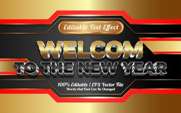 Willkommen zum bearbeitbaren texteffekt des neuen jahres im goldenen stil