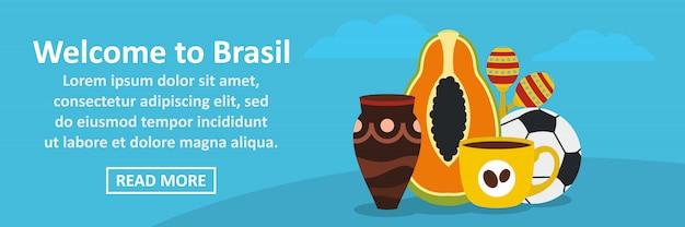 Willkommen zum horizontalen konzept der brasilien-fahnenschablone