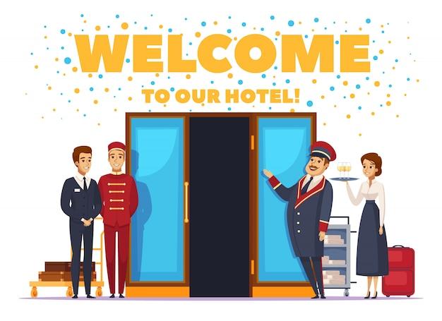 Willkommen zum hotel-karikatur-plakat